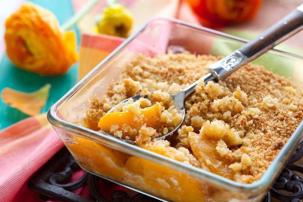 Delicious peach crumble