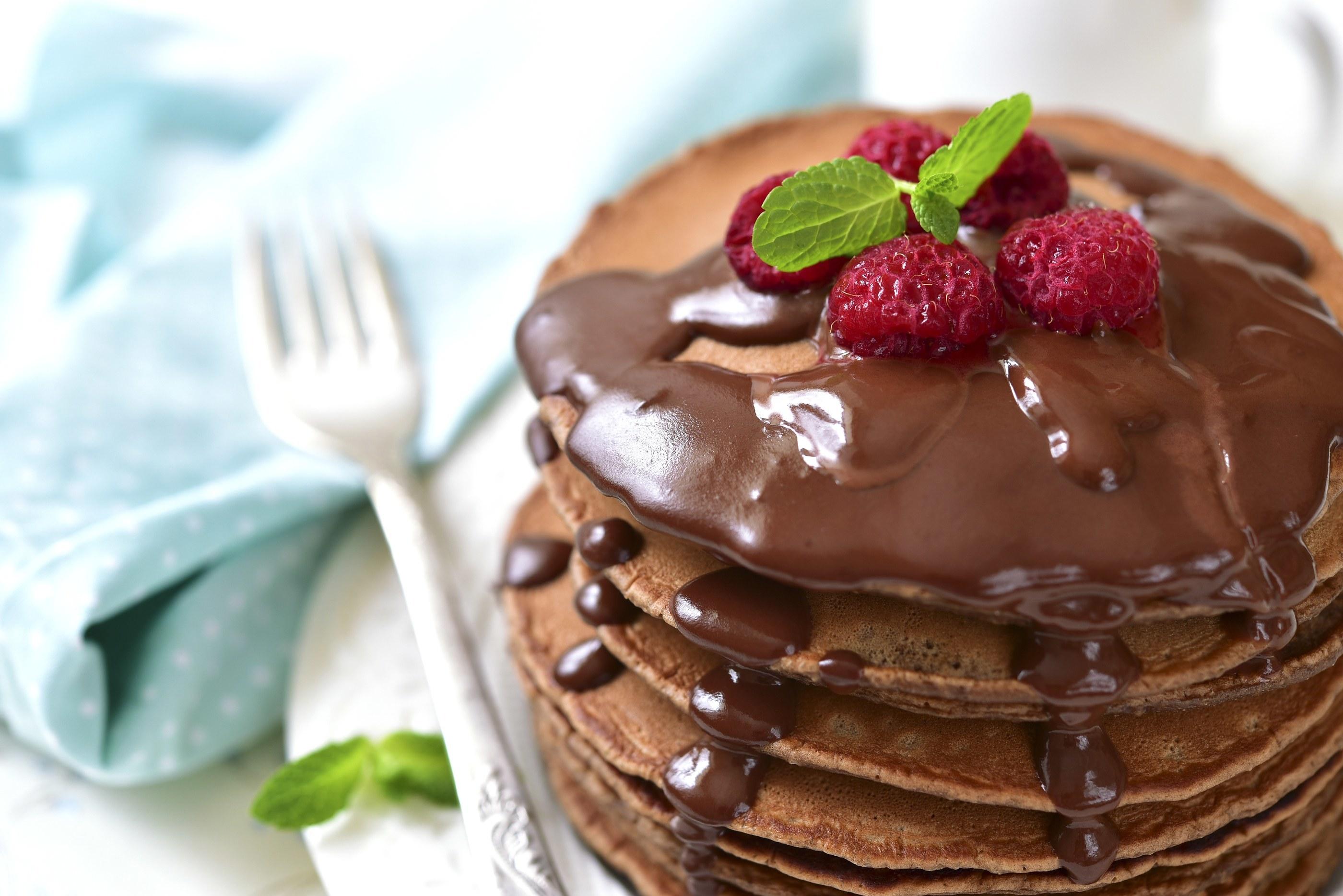 Chocolate Milk Raspberry Pancakes