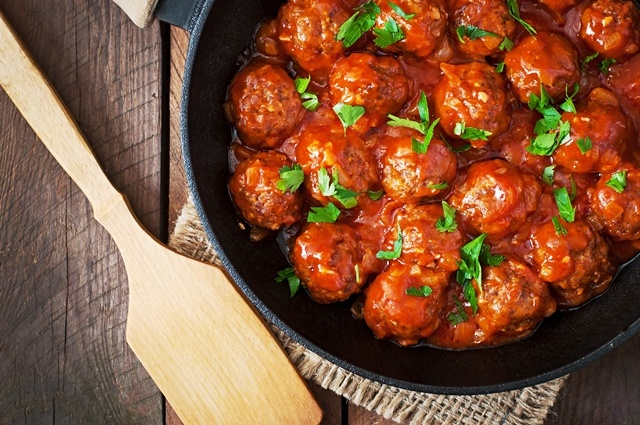 This recipe makes about a dozen large meatballs. This works great for an appetizer or side dish!