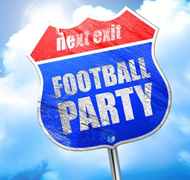 football party, 3D rendering, blue street sign