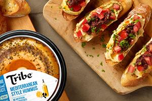 hummus and bruschetta on crispy artisan bread