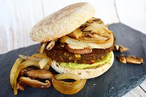 an avocado mushroom veggie burger