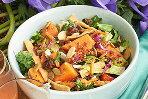 Chopped sesame Asian salad in a bowl