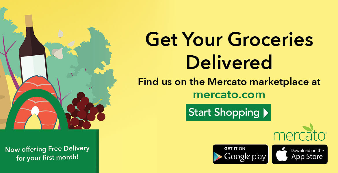 a bag of groceries with text saying get your groceries delivered. Find us on the Mercato marketplace at mercato.com. Now offering free delivery for your first month. Click to start shopping.