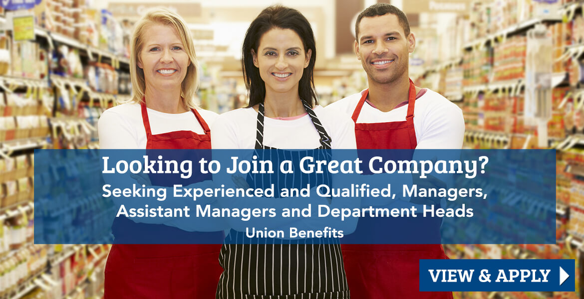3 grocery store workers with text reading, looking to join a great company? Click to view and apply